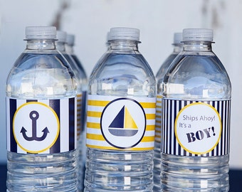 Blue and Gold Nautical Baby Shower Printable Water Bottle Labels, Printable PDF, Instant Download, Immediate Download