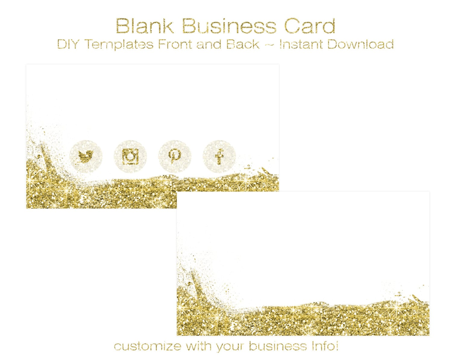 Business card template diy blank business card standard size zoom reheart Image collections