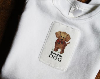 Year of the Dog 2018 Baby Gown, Chinese New Year, Gown or Sack Infant Baby Long Sleeve, Sizes: 0-3 Months or 3-6 Months