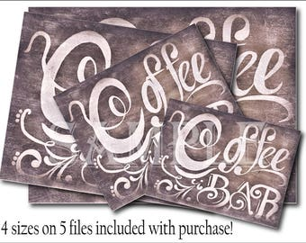 Coffee Bar Sign Printable Set ~ 4 Sizes 5 Digital Files, Black Chalkboard Farmhouse Style Kitchen Art ~ Coffee Shop, Home, Wedding Reception
