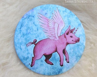 Pocket mirror with its satin - Fantastic Piglet - winged Unicorn pig pouch