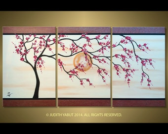 Made to Order-Original, modern triptych art, red cherry blossom tree painting, ready to hang, asian zen style, fine art by Judith Yabut
