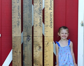 Giant Ruler. HAND PAINTED. Family Growth Chart. Children's Growth Chart. Children's Measuring Chart. Rustic Home Decor. Wall Hanging.