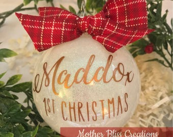 Personalized Christmas Ornament | Baby's First Christmas | Glitter Ornament | Monogrammed Ornament | Unique gift