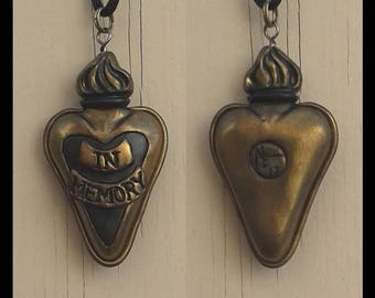 Heart Pendant Heart Jewellery Ex Voto Necklace Gifts Under 50 Mourning Jewelry Sacred Heart Pendant Gothic Jewelry Gift for Her Gothic Gift