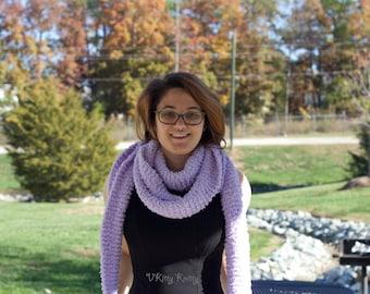 Hand Knit Purple Long Fluffy Scarf Gender neutral men's women's teen's college