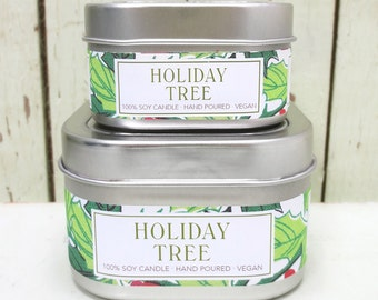 Holiday Tree Soy Candle 4 oz. - Green Daffodil  - Anne and Siouxsan -C4 - Christmas
