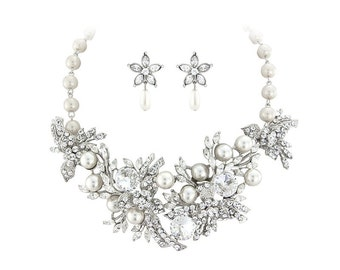Statement necklace set, statement jewelry, bridal jewellery set, statement gift, thick necklace, chunky necklace, large statement necklace