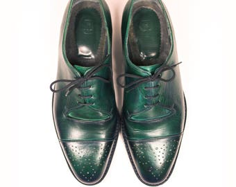Oxford shoes- Emerald green-leather shoes-oxford shoes-custom shoes-handmade shoes-goodyear welted-shoes-womens oxfords-mens shoes-brogues