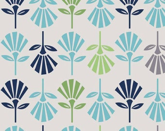 Gray and Blue and Green Cotton Fabric, Gracie Flowers Cotton Fabric by the Yard,   Quilt Fabric, quilting fabric,