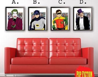60's Batman.Adam West,Burt Ward,Robin,Cesar Romero,Joker,Burgess Meredith,Penguin,Dc,Comics,Art,Mix-Media,Digital art,Prints,Posters,Canvas