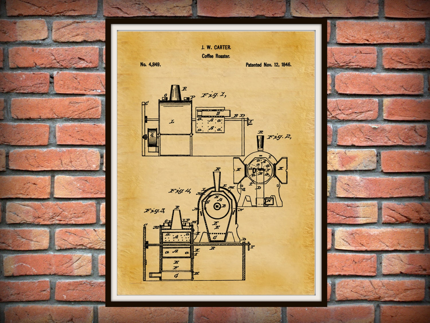 Patent 1846 Coffee Roaster Wall Art Print Kitchen Art
