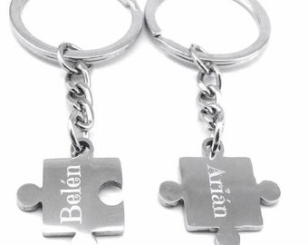 Personalized key ring couples - Silver - Puzzle - Bölbo®