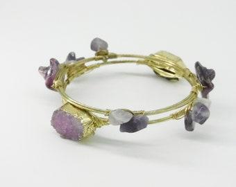 Vintage Amethyst Bangle Bracelets - Wire Wrapped