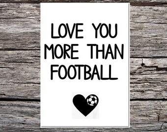 anniversary day card, anniversary card, card for wife/girlfriend/boyfriend/husband, lover card, cute card, love you more than football