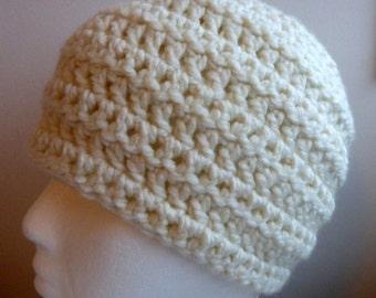 White Beanie White Beanie Hat White Crocheted Beanie Hat White Chunky Yarn Beanie Hand Crocheted Hand Made