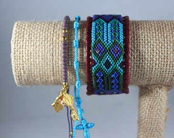 Handmade Woven Glass Bead Leather Bracelet Stack (Set Of 3) Boho-Mexican Friendship-Party Favors Fiesta Mexicana-Festival-Rave-Frida 211