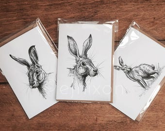 Set of 3 Greetings Cards | Hare Series