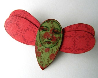 Butterfly Pin, Butterfly Brooch, Whimsical Brooch, Moth Brooch, Red and Green Butterfly, Bug Brooch, Quirky Brooch, Gifts For Mom, Jewellery