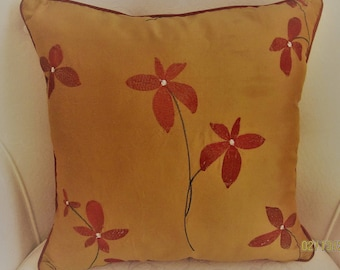 Pair Kravet Couture Embroidered Silk Pillow Covers