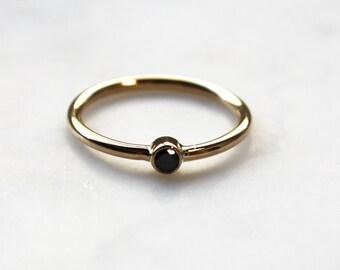 Tiny Black Diamond Stacking Ring (14K yellow gold)