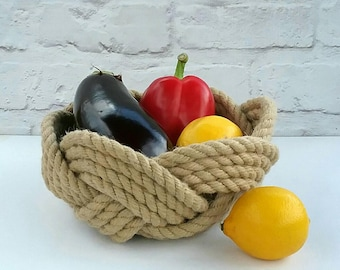 Nautical Rope Fruit Bowl, Hand Woven Kitchen Storage Basket. Celtic, Coastal, Beach Decor, Mothers Day Gift, Wedding Gift. No glue, Handsewn