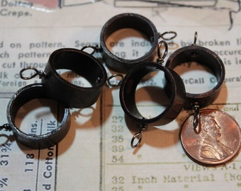 Upcycled Copper Pipe Pendant Bezel - Open Back for Resin, Polymer, etc. Small Black with 2 Loops - Set of 5