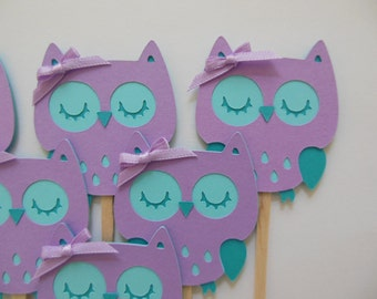 Owl Cupcake Toppers - Lavender and Aqua - Girl Birthday Party Decorations - Girl Baby Shower Decorations - Set of 6