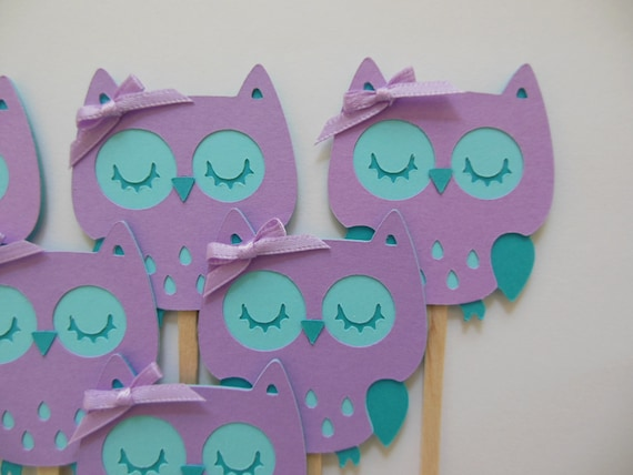 Owl Cupcake Toppers   Lavender And Aqua   Girl Birthday Party Decorations    Girl Baby Shower Decorations   Set Of 6 From Whimsiesbykaren On Etsy Studio