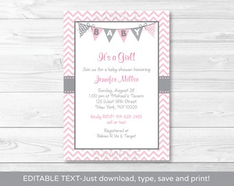 Cute Pink Chevron Baby Shower Invitation / Chevron Baby Shower Invite / Chevron Pattern / Pink & Grey / INSTANT DOWNLOAD Editable PDF A201