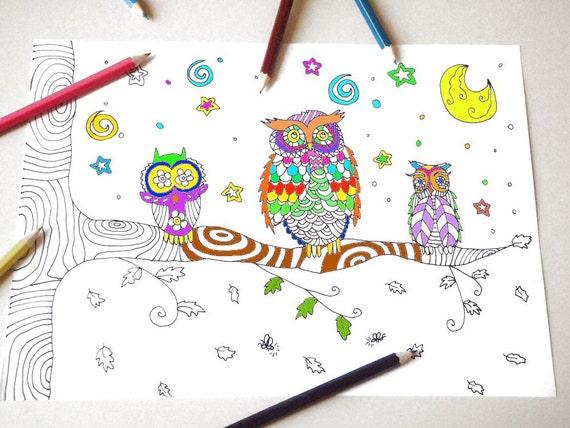 Gufi pagina da colorare per bambini e adulti albero ramo bosco for Disegni da colorare per adulti e ragazzi