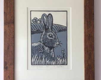Morning Hare. Lino cut. Print.