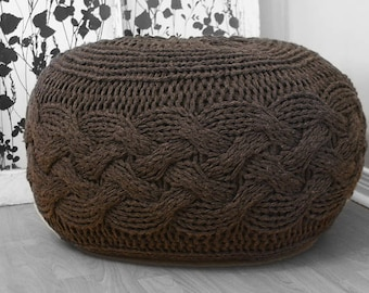 DIY Knitting PATTERN - Chunky Cable Knit Pouf (2012009): chunky knit, footstool, ottoman, oversized knit, stool, pouffe, foot stool, tuffet