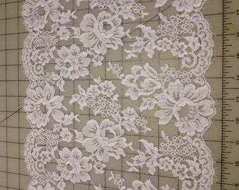 """White Alencon lace, 11.5"""" wide"""