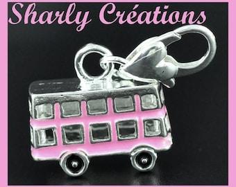 3D charm on clasp Bus English enamel metal charm