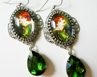 Earrings, Rosetti Earrings, Green Earrings - Emerald Earrings - Tourmaline Earrrings - Redhead Earrings - Gift for her - Christmas gift