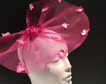 Pink Fascinator- Pink Derby Hat- Floral Headpiece- Kentucky Derby- Polo - Hydrangea Fascinator -Wedding fascinator- Kentucky Derby
