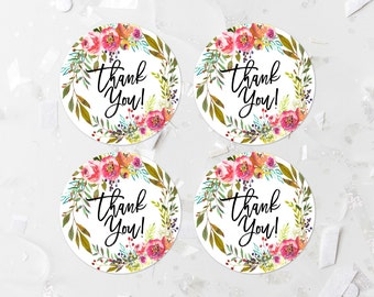 Bohemian Thank You Favor Labels Printable Boho Favor Tags Pink Floral Baby Shower Favor Stickers Bridal Shower Decoration Thank You Tags 244