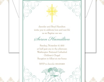 Baptism Announcement, Baptism Invite, Christening Announcement, Angel Baptism Invite, Angels and Cross Christening Invite, Vintage Baptism