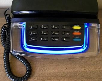 Vintage 1980's Radio Shack Krystalite Blue Neon Telephone