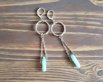 Long Silver Earrings. Amazonite Earrings. Crystal Earrings. Hoop Earrings. Circle Earrings. Karma Earrings. Boho Earrings. Bohemian Earrings