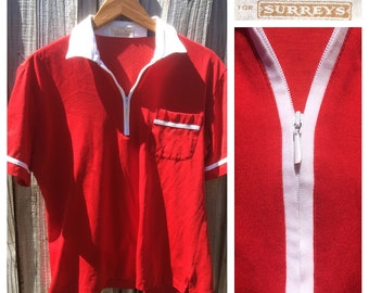 vintage 1960 Countess Mara for Surreys zip-up red & white polo shirt