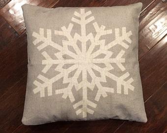 Grey Snowflake-pillow cover
