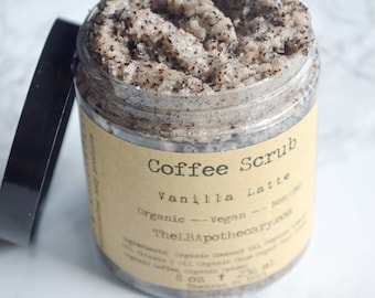 Organic Vanilla Latte Sugar Scrub / Coffee Scrub / SPA Gift / Sugar Scrub / Vegan Sugar Scrub / Coffee Lovers Gift/ Birthday Gift