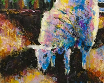 Original Acrylic Expressionist Painting 9x11 'The Lamb'