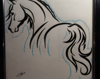 OOAK Original Colored Pencil Silhouette Horse Drawing