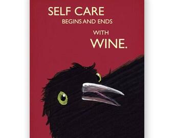 Self Care Wine Card - Bird - Greeting - Mincing Mockingbird