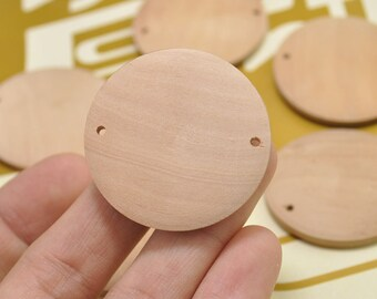 10pcs 40mm Natural Round Flat Wood Connector,Wood beads,Wood Circles Wooden discs Unfinished round disk Bead,two hole,jewelry making
