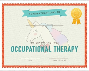 Occupational Therapy Graduation Certificate Template, Girls, Unicorn, Rainbow,Special Needs,Printable Award Certificate,pdf Instant Download