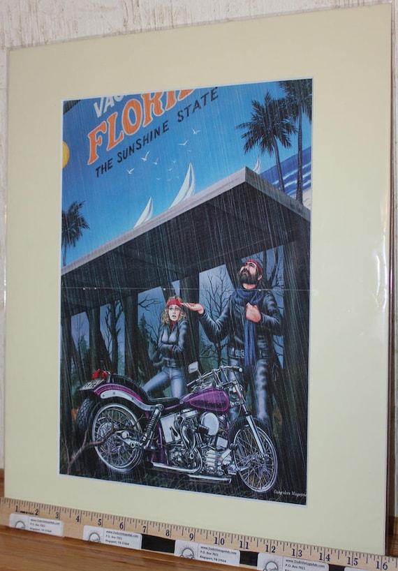 "David Mann ""The Sunshine State"" 16'' x 20'' Matted Motorcycle Biker Art Poster #8412ezrxmc"